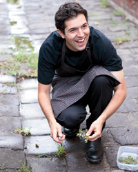 """Attica chef Ben Shewry adorns dehydrated-beet """"earth"""" with weeds."""