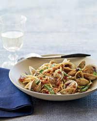 Chinese black bean sauce is an unusual (but delicious) addition to a simple pasta with cockles. Its wine match: Vermentino. Bowl by Rina Menardi.