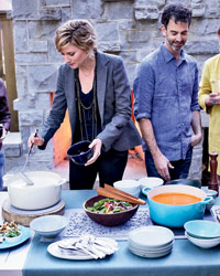 Country singer Jennifer Nettles of Sugarland and chef Steven Satterfield host a soup party.