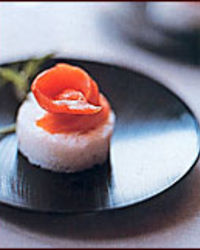 Jasmine Rice Cakes with Wasabi and Smoked Salmon
