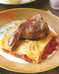 Lamb Chops with Tomato-and-Potato Gratin