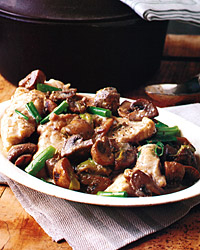 Pan-Roasted Monkfish with Mushrooms and Scallions