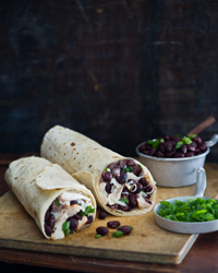 Chicken Burritos with Black-Bean Salsa and Pepper Jack