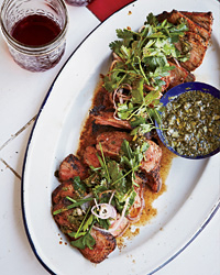 Coffee-Rubbed Strip Steaks with Chimichurri Sauce Recipe -Tim Byres ...