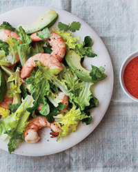 Avocado-and-Shrimp Salad with Red Goddess Dressing