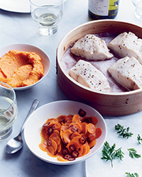 Steamed Sea Bass with Carrots Three Ways