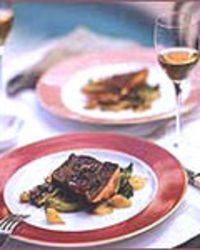 Pancetta-Wrapped Salmon with Red Wine Butter