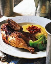 Grilled Cornish Hens with Sun-Dried-Tomato Pesto