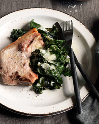 Baked Pork Chops with Swiss Chard