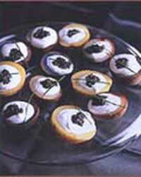 Tricolored Potato Cups with Caviar and Sour Cream