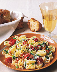 Rotelle with Bacon, Watercress, and Cherry Tomatoes