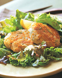 Salmon-and-Potato Cakes with Mixed Greens