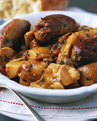 Sausages, Potatoes, and Artichoke Hearts in Tomato Broth