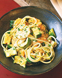 Spaghetti with Grilled Shrimp, Zucchini, and Salsa Verde
