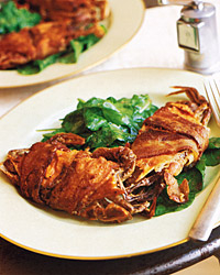 Soft-Shell Crabs in Bacon on Arugula with Mustard Vinaigrette