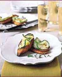 White Bean Crostini with Spicy Cucumbers
