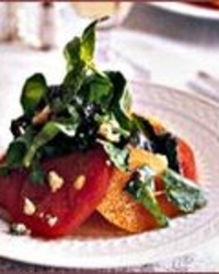 Custer's Tomato Salad with Grilled Greens and Stilton