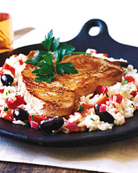 Mediterranean Rice Salad with Seared Tuna