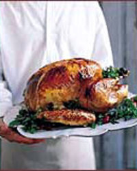 Roasted Turkey with Bacon-Cider Gravy