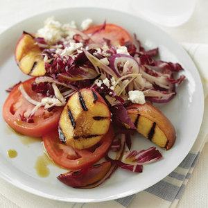 Tomato, Radicchio and Grilled Peach Salad with Basil Oil