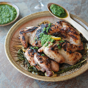 Grilled Baby Chickens with Salsa Verde
