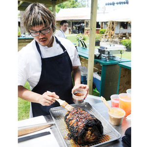 Brian Huskey Glazes his Porchetta