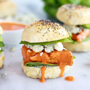 Crispy Buffalo Style Salmon Sliders