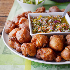 Andrew Zimmern's Oyster Hush Puppies with Pepper Mojo