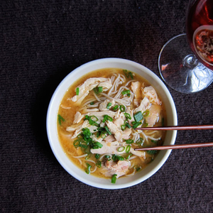 Chicken Soup with Soba, Red Miso and Meyer Lemon