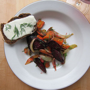 Borscht Salad with Fresh Cheese and Pumpernickel Toasts