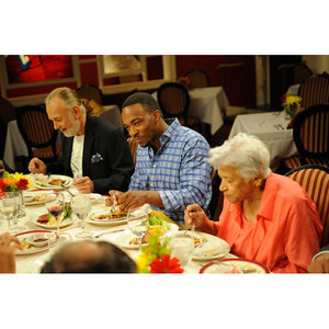 Hubert Keller, Anthony Mackie and Leah Chase