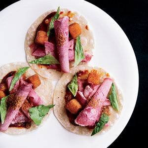 Alex Stupak's Pickled Tongue and Fried-Mayo Tacos