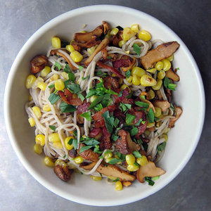Soba Noodles with Chanterelles, Corn and Bacon