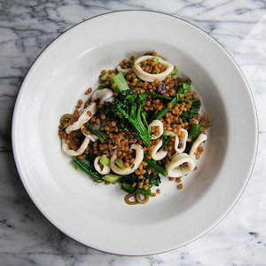 Squid Salad with Olives, Wheat Berries and Broccolini