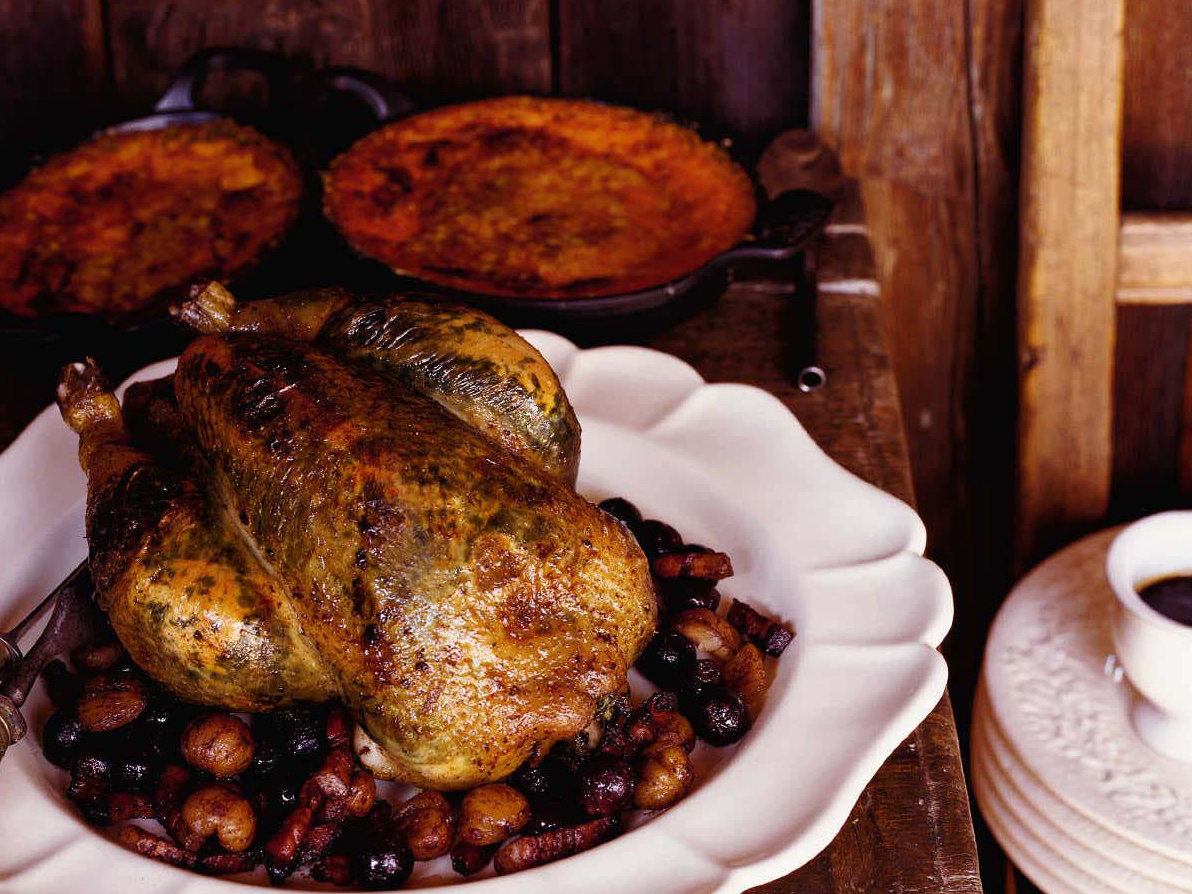 Roast Chicken with Grapes, Chestnuts and Tarragon Butter ...