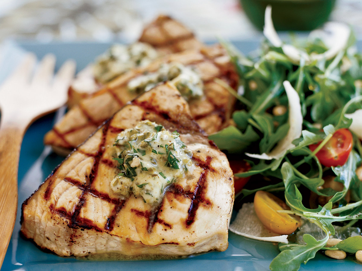 Grilled swordfish steaks with basil caper butter recipe for Sword fish recipes