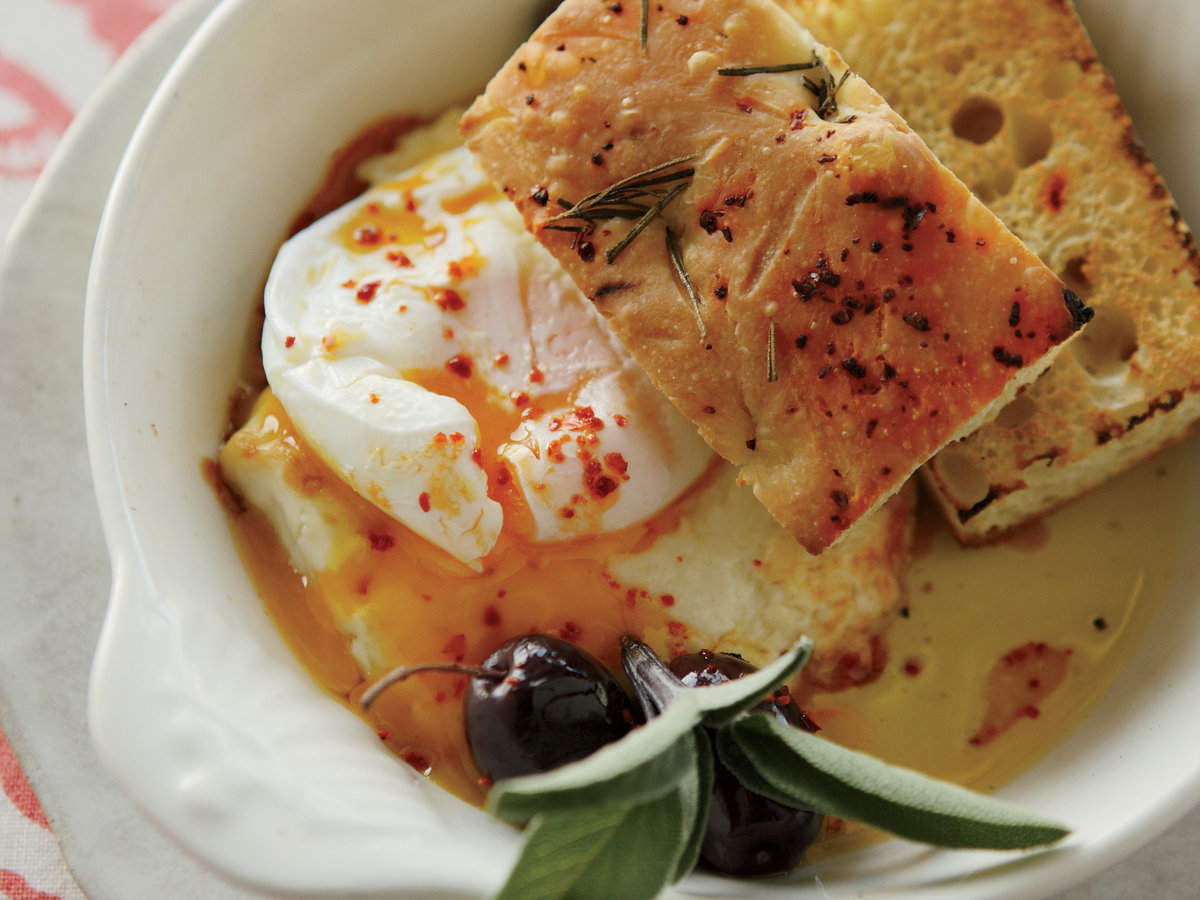 Poached Eggs with Baked Feta and Olives