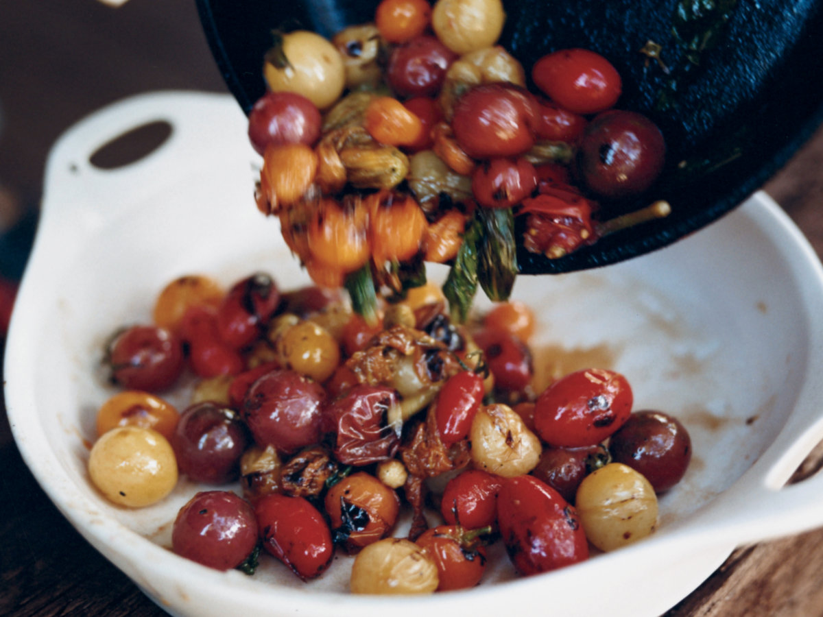 skillet charred cherry tomatoes with basil recipe chris cosentino food wine. Black Bedroom Furniture Sets. Home Design Ideas