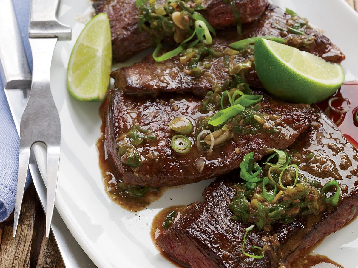 Pan Seared Skirt Steak With Anchovies And Lime Recipe