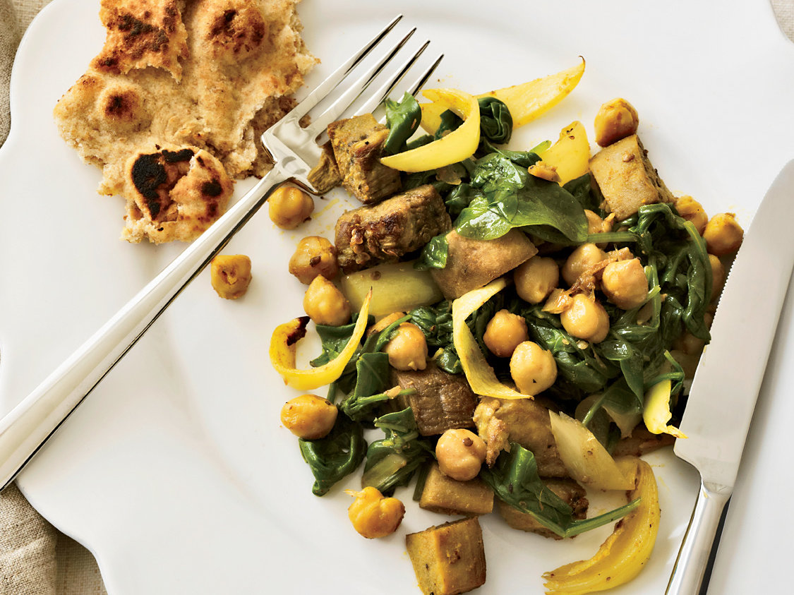 Curried Eggplant with Chickpeas and Spinach Recipe - Grace ...