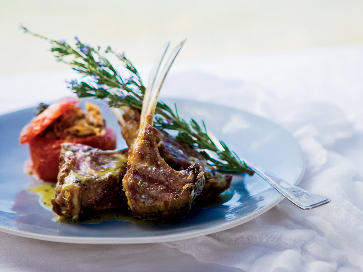 <p>Grilled Lamb Chops with Ladolemono</p>