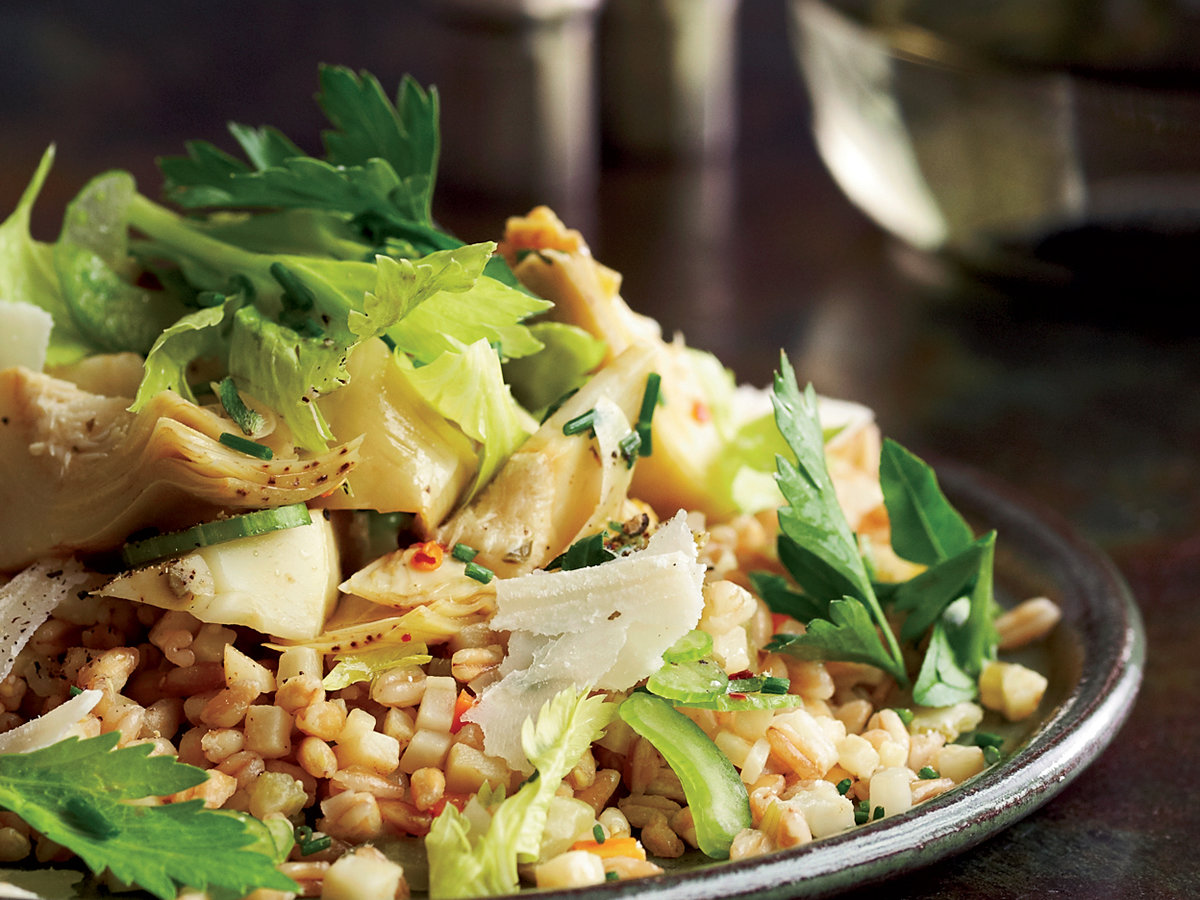 <p>Farro with Artichokes and Herb Salad</p>