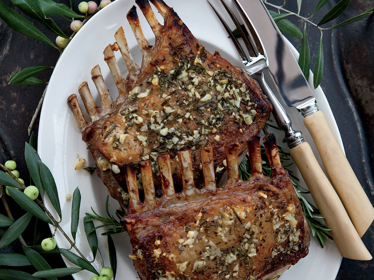 Garlic-Crusted Roast Rack of Lamb Recipe - Kenny Rochford ...