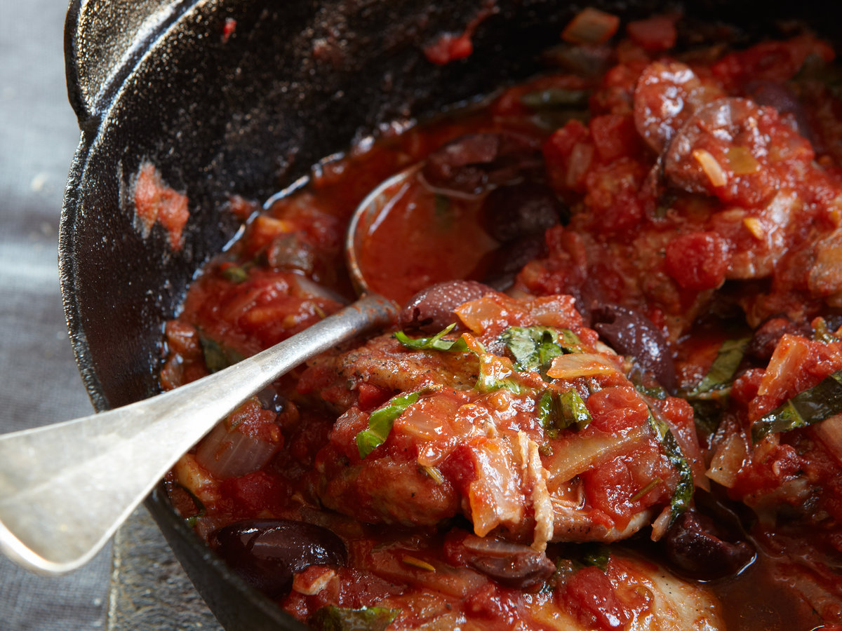 Braised Chicken Thighs with Olives and Basil Recipe ...