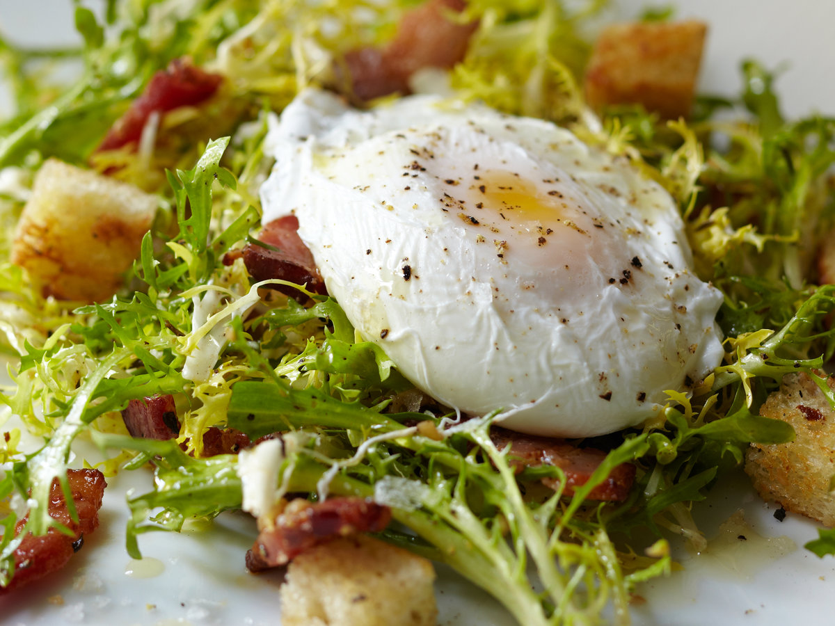Curly-Endive Salad with Bacon and Poached Eggs Recipe ...