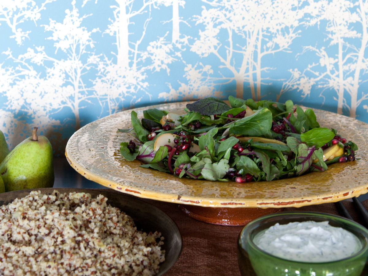 Spicy Greens and Pear Salad with Pomegranate Gremolata ...