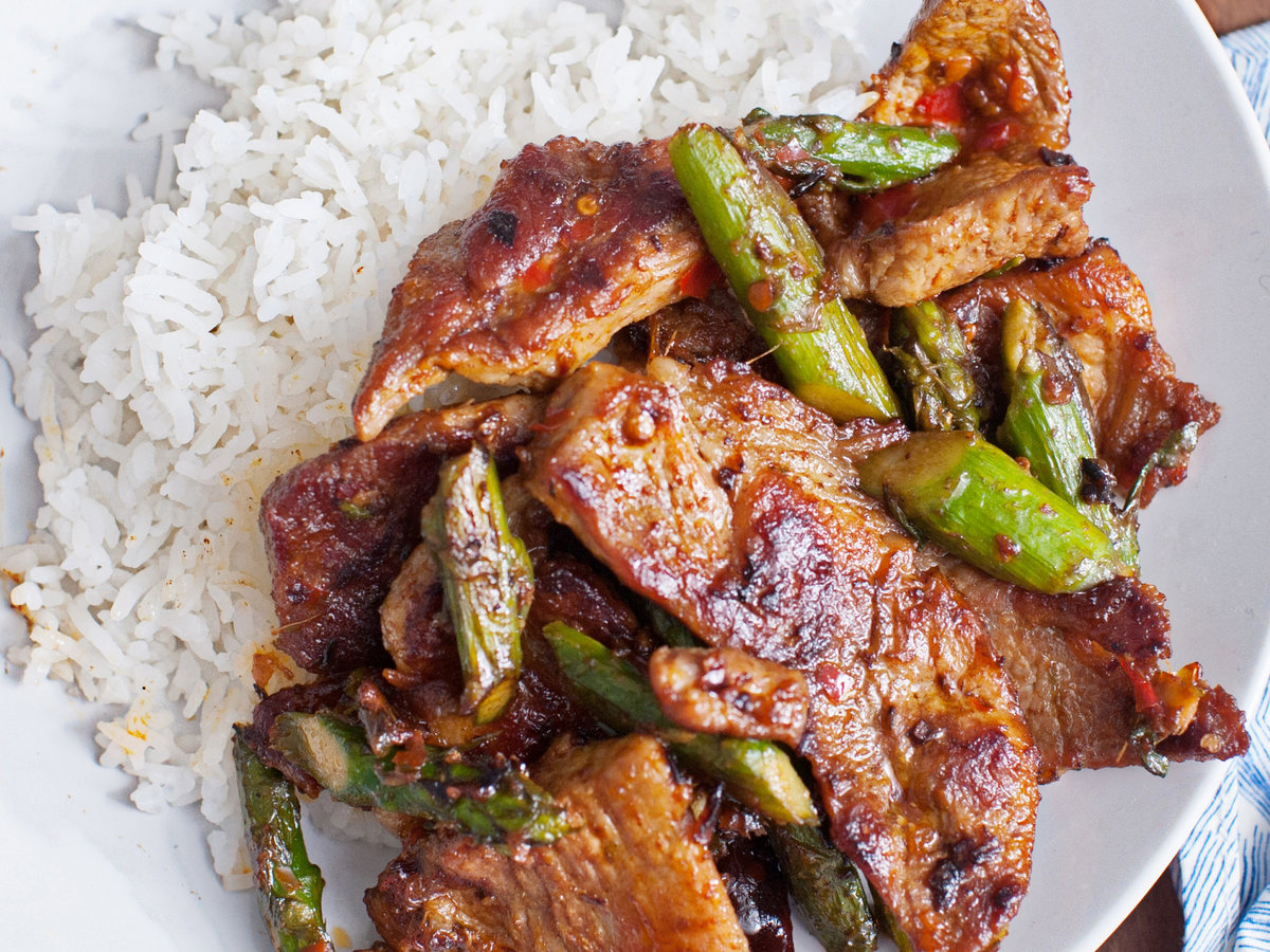 Pork and Asparagus with Chile-Garlic Sauce Recipe - Andrew ...