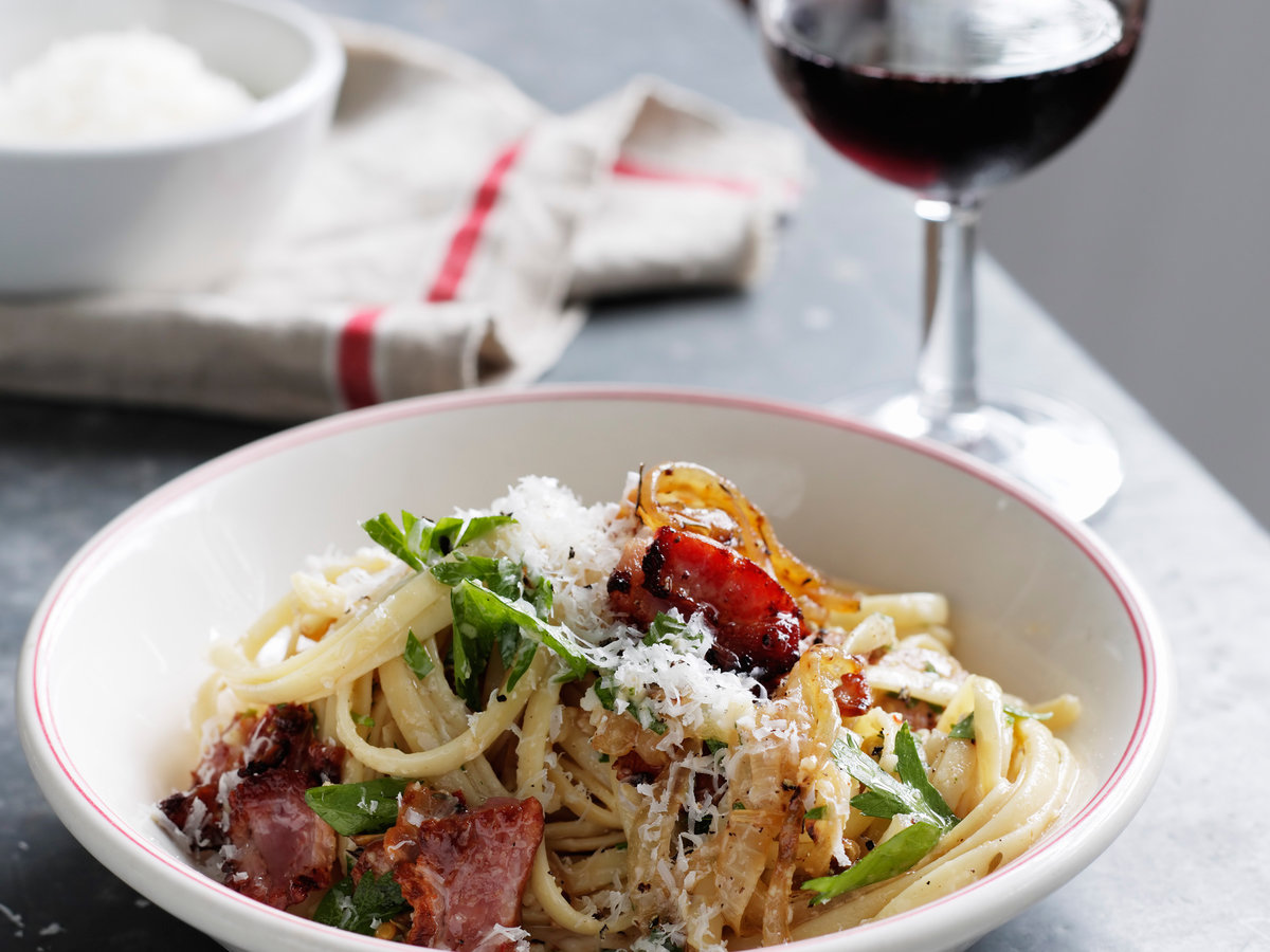 Linguine with Onion, Bacon, and Parmesan Recipe - Quick ...