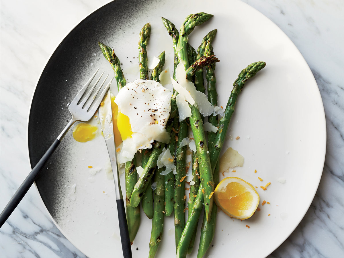 Grilled Asparagus with Pecorino and Meyer Lemon-Poached ...