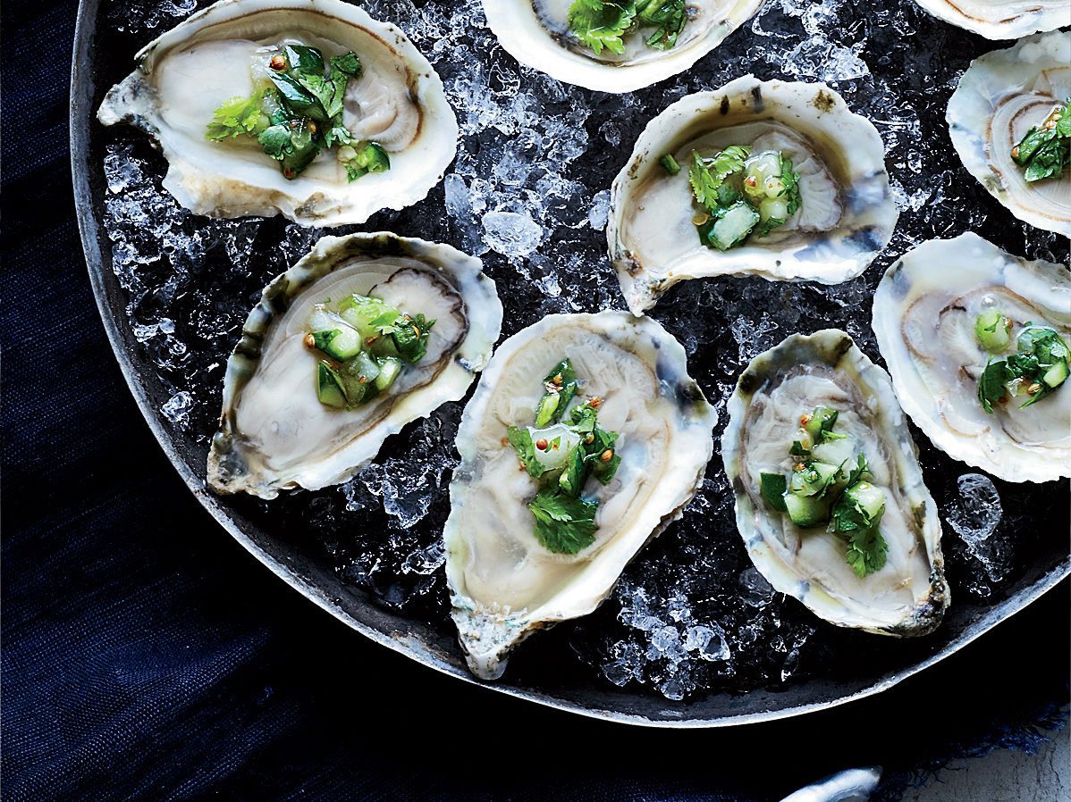 oysters on the half shell with ceviche topping recipe